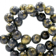 8 mm natural stone beads round jade Gold-Dark Denim Blue