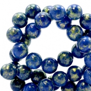 4 mm natural stone beads round jade Gold-Estate Blue