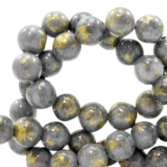 8 mm natural stone beads round jade Gold-Thunder Grey