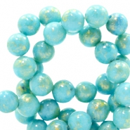 8 mm natural stone beads round jade Gold-Clearwater Blue
