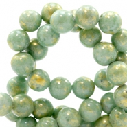 4 mm natural stone beads round jade Gold-Shire Green
