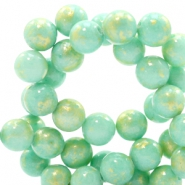 8 mm natural stone beads round jade Gold-Light Turquoise Green