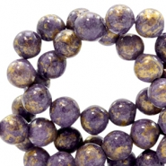 4 mm natural stone beads round jade Gold-Candy Violet Purple