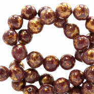 6 mm natural stone beads round jade Gold-Dark Brown