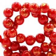 8 mm natural stone beads round jade Gold-Scarlet Red