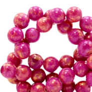 6 mm natural stone beads round jade Gold-Cabaret Pink