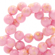 4 mm natural stone beads round jade Gold-Rouge Pink