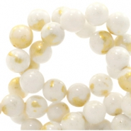 4 mm natural stone beads round jade Gold-White