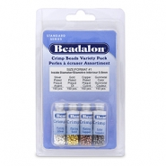 Beadalon Crimp Bead Variety Pack (1.3mm) Silver, Gold, Copper, Hematite