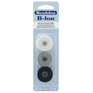 Beadalon B-Lon Nylon Cord 3-pack Black, Grey, White