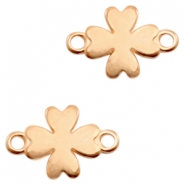 DQ European metal charms connector clover Rose Gold (nickel free)