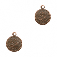 Charms TQ metal oriental coin 13mm Copper (Nickel Free)