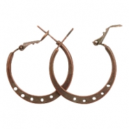 Findings TQ metal Creole earrings 25mm with eyes Copper (Nickel Free)