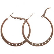 Findings TQ metal Creole earrings 36mm with eyes Copper (Nickel Free)
