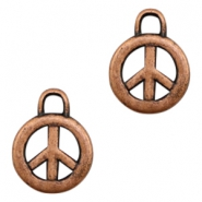 Charms TQ metal peace sign 17mm Copper (Nickel Free)