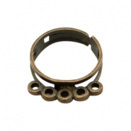 Findings TQ metal ring adjustable with loops Antique Bronze (Nickel Free)
