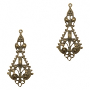 Charms TQ metal drop shaped Victorian style Antique Bronze (Nickel Free)
