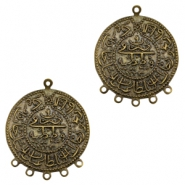 Charms TQ metal Oriental coin 30mm with 5 loops Antique Bronze (Nickel Free)