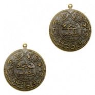 Charms TQ metal Oriental coin 30mm Antique Bronze (Nickel Free)