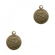 Charms TQ metal oriental coin 13mm Antique Bronze (Nickel Free)
