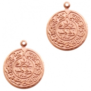 Charms TQ metal Oriental coin 20mm Rose Gold (Nickel Free)