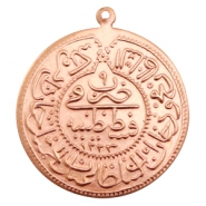 Charms TQ metal Oriental coin 30mm Rose Gold (Nickel Free)