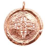 Charms TQ metal round 44mm flower Rose Gold (Nickel Free)
