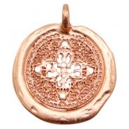 Charms TQ metal round 30mm flower Rose Gold (Nickel Free)