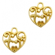 Charms TQ metal heart Baroque Gold (Nickel Free)