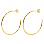 Findings TQ metal Creole earrings 40mm Gold (Nickel Free)