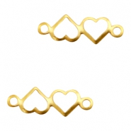 Charms TQ metal connector hearts Gold (Nickel Free)