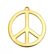 Charms TQ metal peace sign 33mm Gold (Nickel Free)