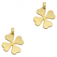 Charms TQ metal lucky clover Matt Gold (Nickel Free)