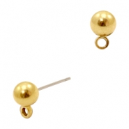 Findings  TQ metal earrings 6mm with loop Gold (Nickel Free)