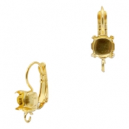 Findings TQ metal earrings adjustable for chaton SS29 with loop Gold (Nickel Free)