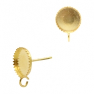 Findings TQ metal earrings adjustable setting for 8mm cabochon with loop Gold (Nickel Free)