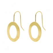 Findings TQ metal earrings with oval Gold (Nickel Free)