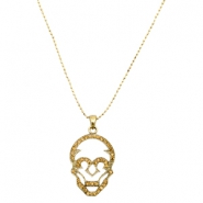 Charms TQ metal skull with 1.5mm ball chain Gold (Nickel Free)