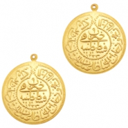 Charms TQ metal oriental coin 30mm Matt Gold (Nickel Free)