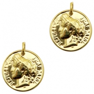 Charms TQ metal Republic of France coin Gold (Nickel Free)