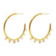 Findings TQ metal Creole earrings 30mm with loops Gold (Nickel Free)