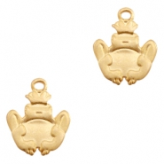 Charms TQ metal frog Matt Gold (Nickel Free)
