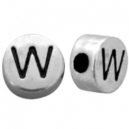 Metal-look beads letter W Antique Silver