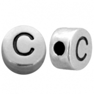 Metal-look beads letter C Antique Silver