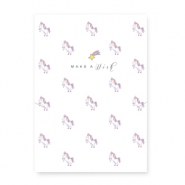"Jewellery cards ""Make a wish"" with an unicorn White-Yellow Pink"