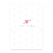 "Jewellery cards ""I love you mom"" with a heart and arrow White-Pink"
