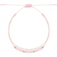 Ready-made Bracelets faceted Light Pink-White Silver