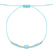 Ready-made Bracelets Stone&Faceted Light Turquoise Blue-Silver