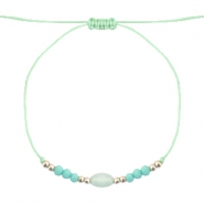 Ready-made Bracelets Stone&Faceted Light Turquoise Green-Silver