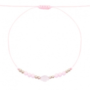 Ready-made Bracelets Stone&Faceted Light Pink-Silver